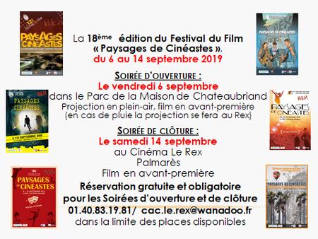 """Festival """"Paysages de Cinéastes""""- Du 6 au 14 septembre 2019"""